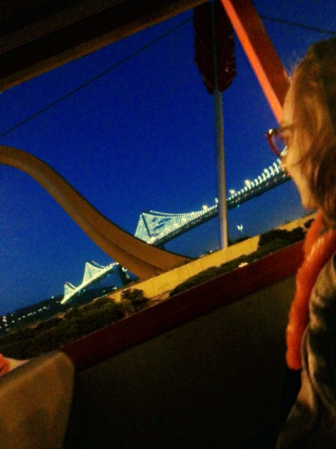 My sister and the glistening Bay Bridge