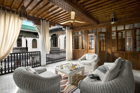 Our private balcony overlooking the courtyard of our riad :: Photo credit: La Sultana Hotels